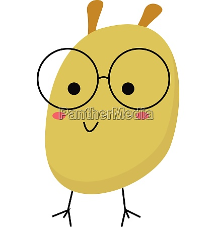 cartoon funny monster with glasses vector