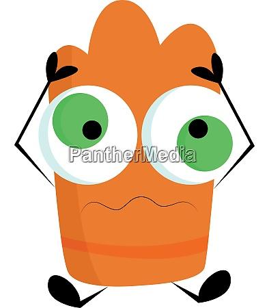 a crazy orange monster vector or