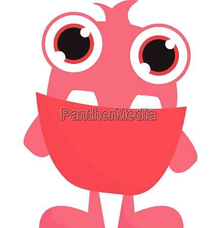 pink monster with big eyes vector