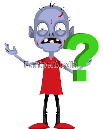 zombie con punto interrogativo illustrazione vettore