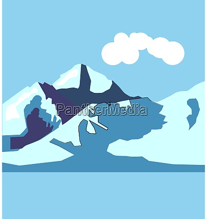 montagna illustrazione vettore su sfondo bianco