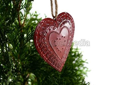 cuore forma decorazione di natale appeso