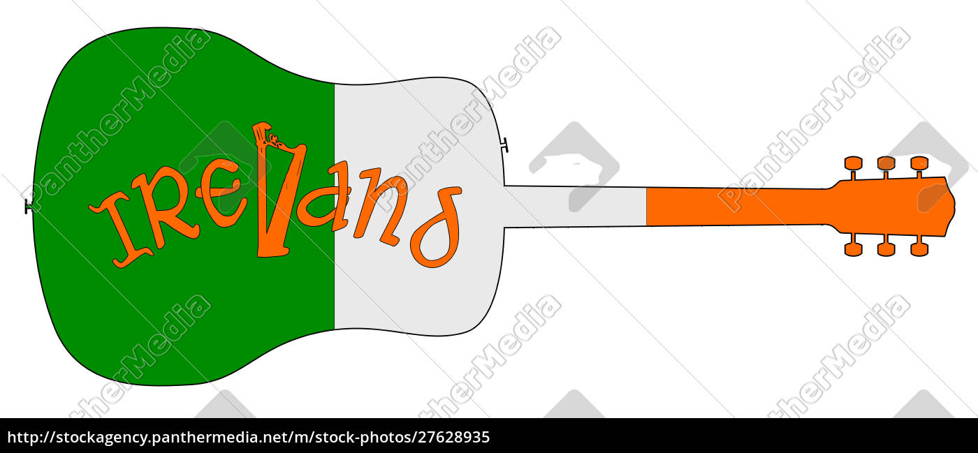 acoustic, guitar, silhouette, with, ireland, national - 27628935