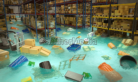 interior of a flooded warehouse with