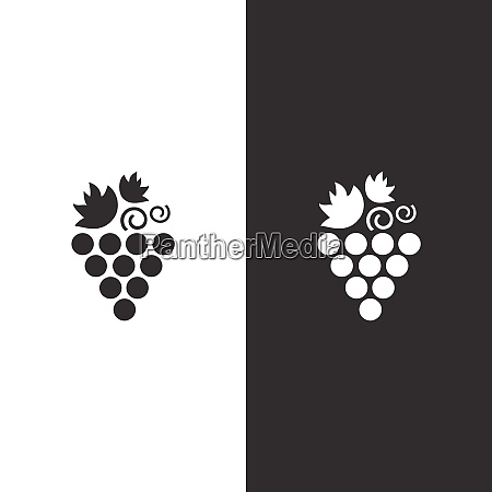 grapes icon on black and white