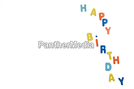 colorful word happy birthday isolated on