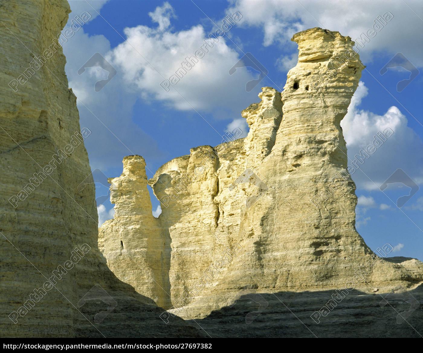 stati, uniti, kansas, contea, di, logan, monument, rocks., le - 27697382