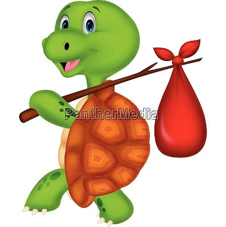 cartone animato divertente tartaruga che viaggia
