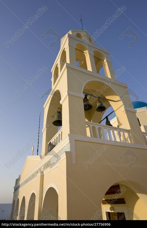 grecia, santorini, thira, oia., facciata, gialla, e, campanile, della - 27756906