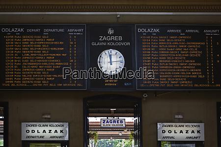 clock and train schedule glavni kolodvor