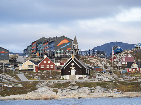 town ilulissat and zions church at