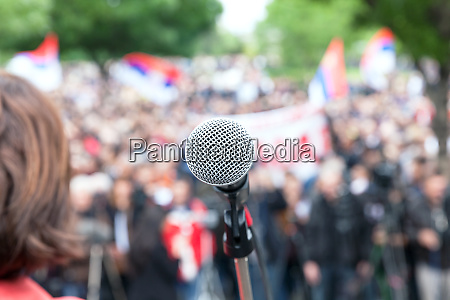 political protest or demonstration microphone in