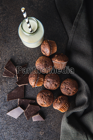 muffin, al, cioccolato, gustosi., dolce, tortini. - 28135279