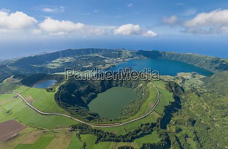 veduta aerea delle azzorre isola di