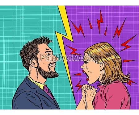 uomo e donna controversia emozioni urlare