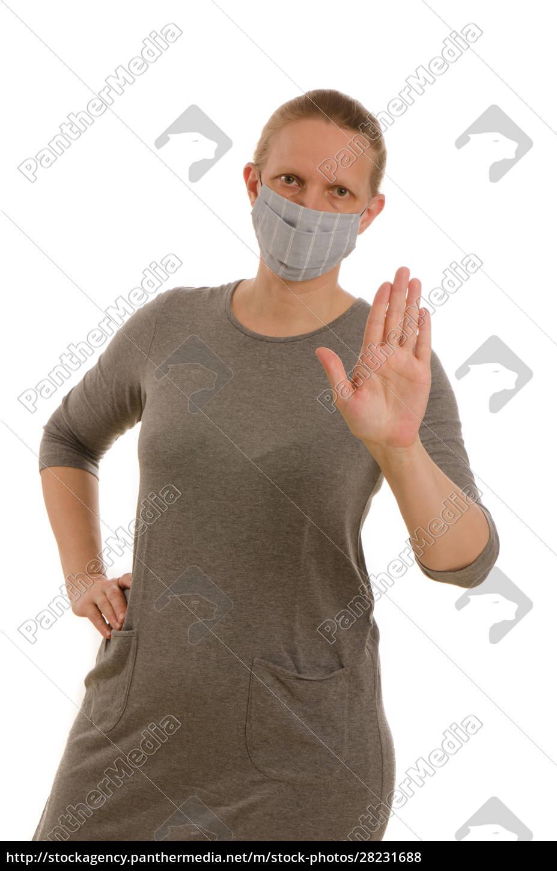 donna, con, protezione, della, bocca, e - 28231688
