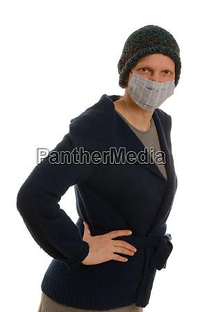 donna, con, protezione, della, bocca, e - 28231694
