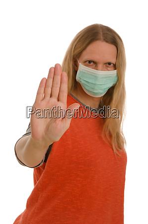 donna, con, protezione, della, bocca, e - 28232117