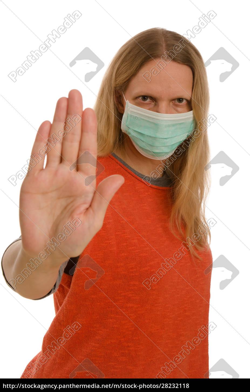 donna, con, protezione, della, bocca, e - 28232118