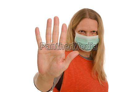 donna, con, protezione, della, bocca, e - 28232129