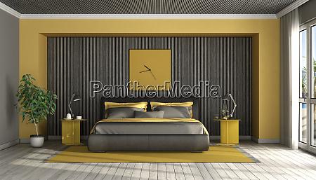 camera da letto principale moderna nera