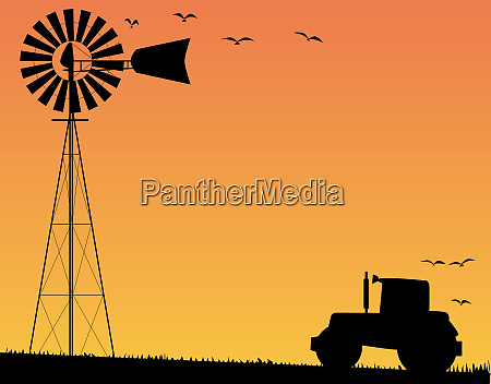 farm, sunset - 28634067