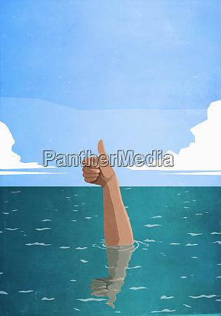 affondare la mano gesticolando pollici in