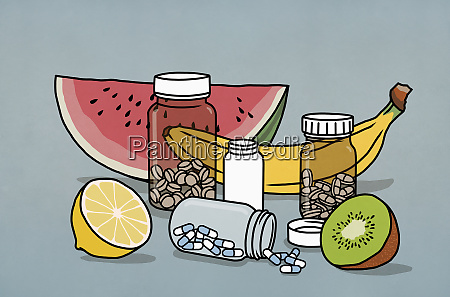frutta natura morta e bottiglie di