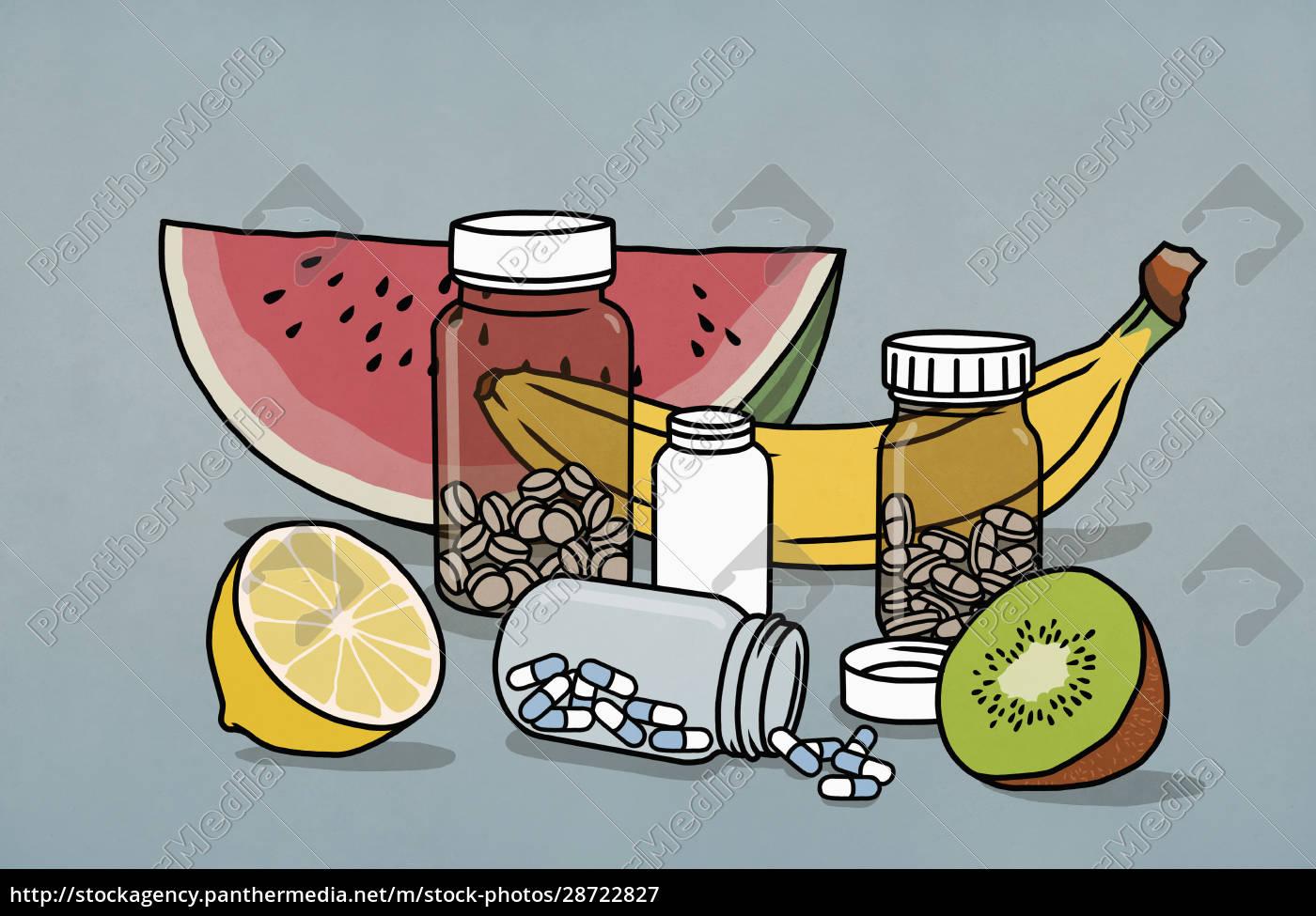 frutta, natura, morta, e, bottiglie, di - 28722827