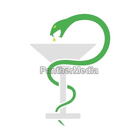 segno di medicina con icona serpente