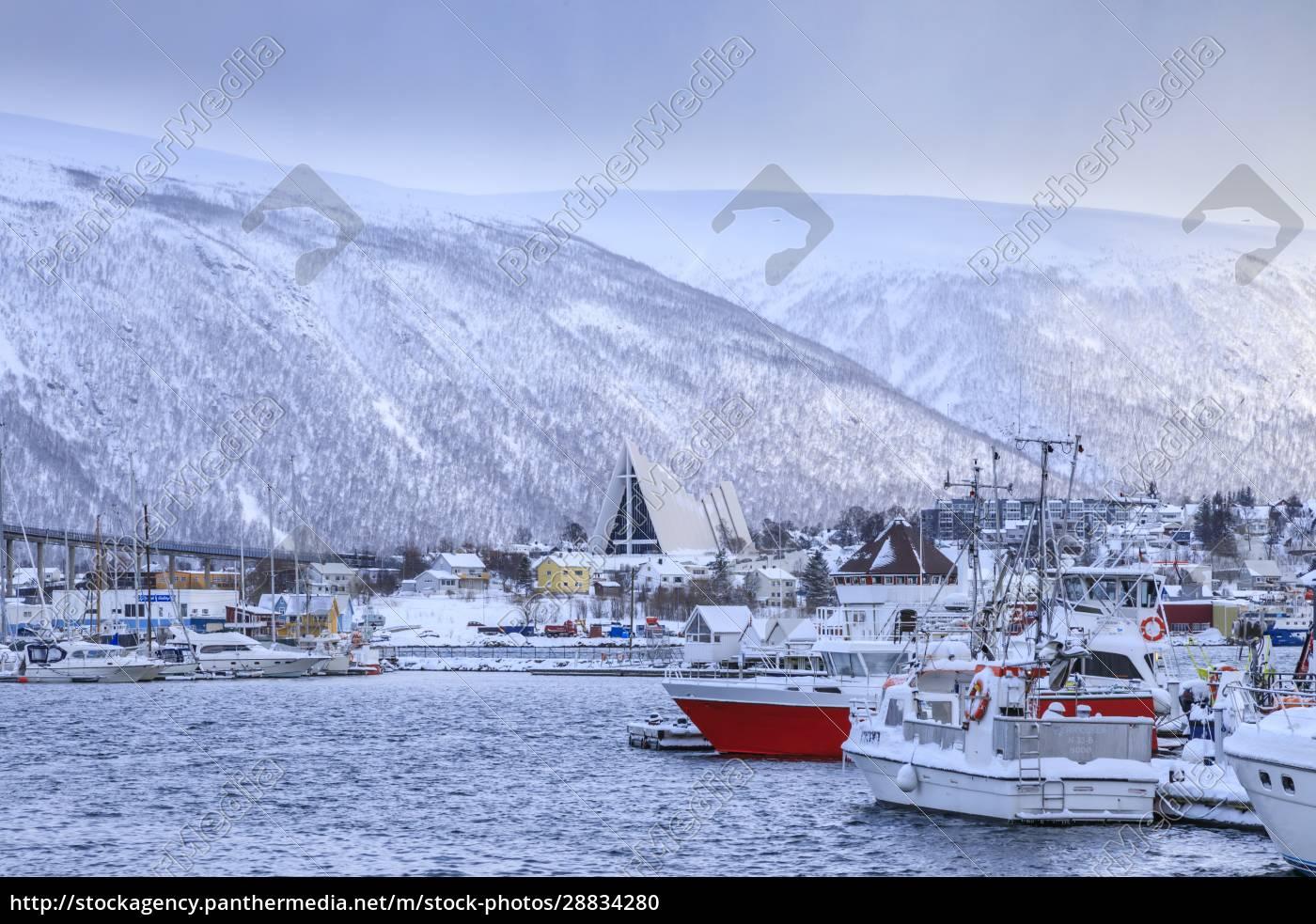 tromso, piccolo, porto, barca, fiordo, ponte, cattedrale, artica, dopo, la, forte - 28834280