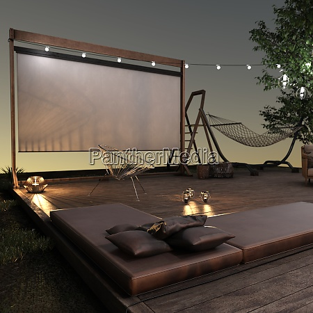 home theater di rendering 3d allesterno