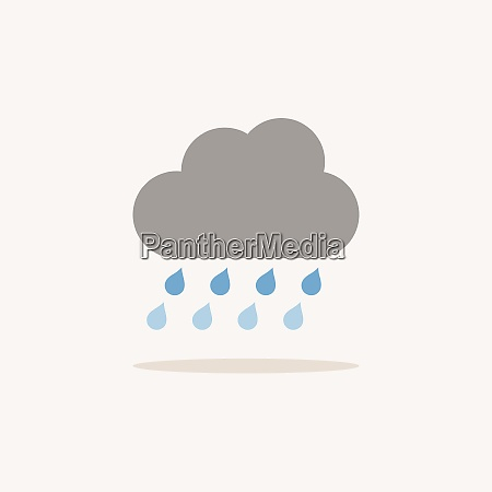 pioggia e nuvole forti icona colore