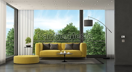 soggiorno moderno grigio e giallo