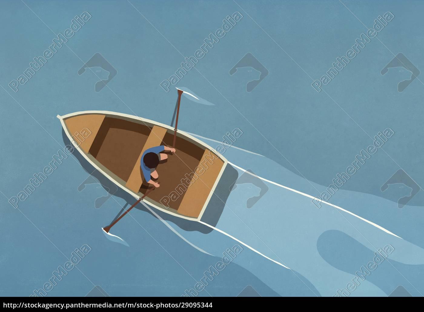 uomo, in, barca, a, remi, sull'acqua - 29095344