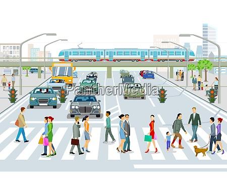 trasporti con treno autobus e traffico