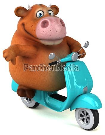 mucca divertente illustrazione 3d