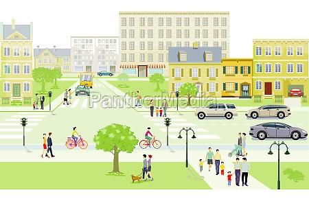 traffico stradale con famiglie e persone