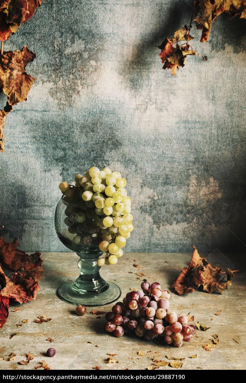 natura, morta, con, uva, e, foglie - 29887190