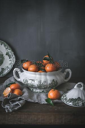 natura, morta, sofisticata, con, mandarini, arancioni - 29893930