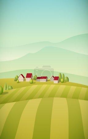 verde, vettore, sfondo, illustrazione, cielo, stagione - B52817863