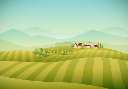 verde, vettore, sfondo, illustrazione, cielo, stagione - B52817859